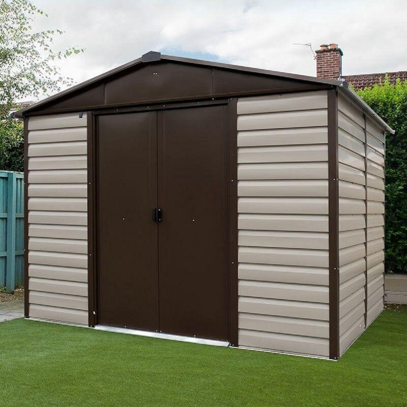 Yardmaster Abri de jardin métal beige et marron 5,97m² + kit d'ancrage inclus - YARDMASTER