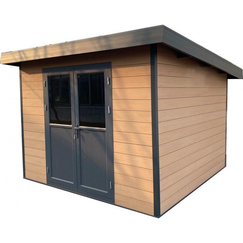 Woodlife Garden Abri de jardin en bois composite 28mm aspect bois vieilli 9m² PREMIUM toit plat - Woodlife Garden