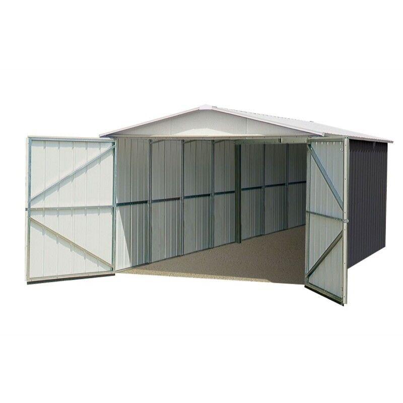 Yardmaster Garage métal anthracite 15,50m² + kit d'ancrage inclus - YARDMASTER