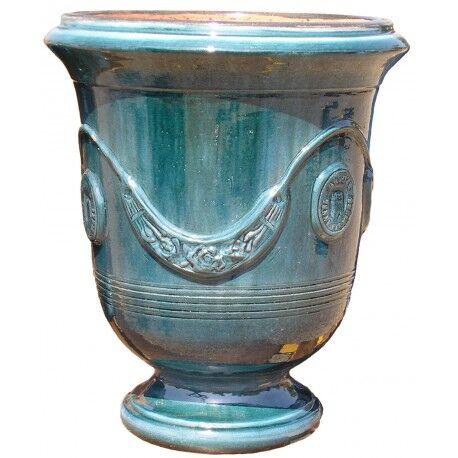 Terre Figuière Vase d'Anduze terre cuite émaillée Bleu Terre Figuière