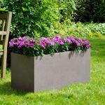 Jardinière en fibre de terre 100x45xH.45cm taupe Bac à plantes en fibre... par LeGuide.com Publicité