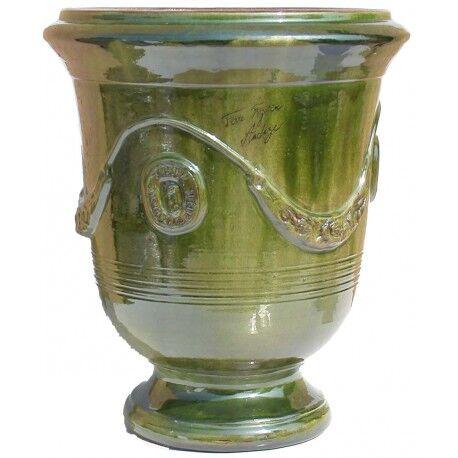 Terre Figuière Vase d'Anduze terre cuite émaillée Vert Terre Figuière - Taille - Taille 4 : Haut 65 x Diam 55cm