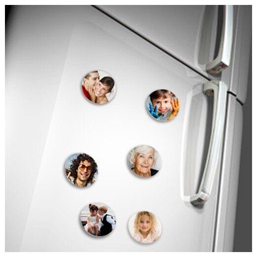 Lot de 6 magnets ronds photo