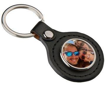 Porte clé cuir rond photo