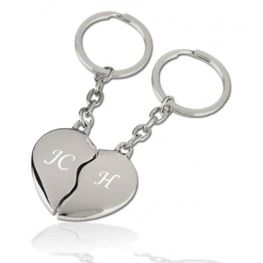 Porte clé coeur duo