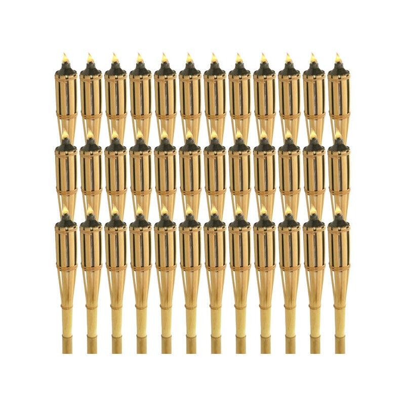 Eurof Torches à huile en bambou 120 cm - Lot de 36