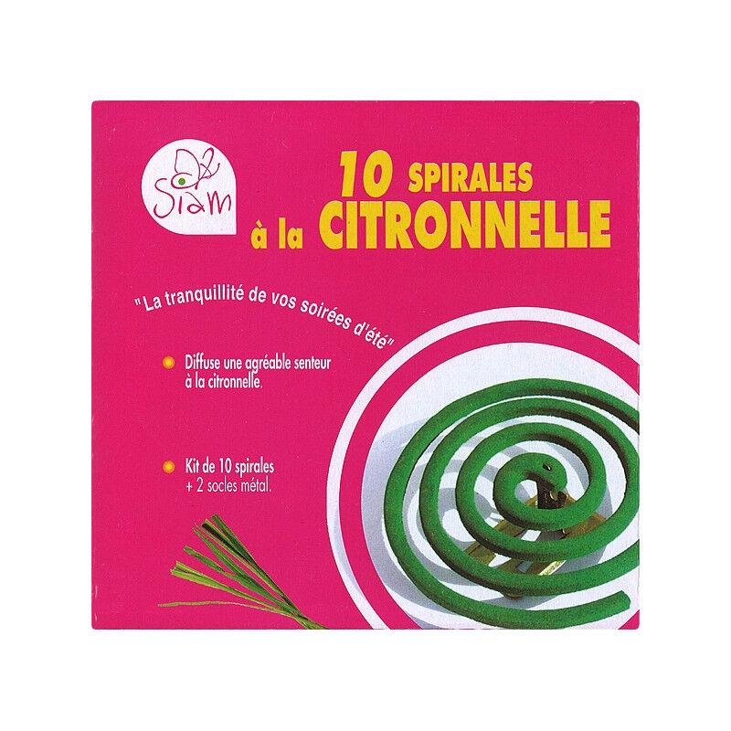 Siam Kit anti-moustique - 10 spirales Citronnelle + 2 socles