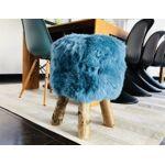 Tabouret en mouton bleu turquoise  Dona  poils courts avec pieds en véritable... par LeGuide.com Publicité