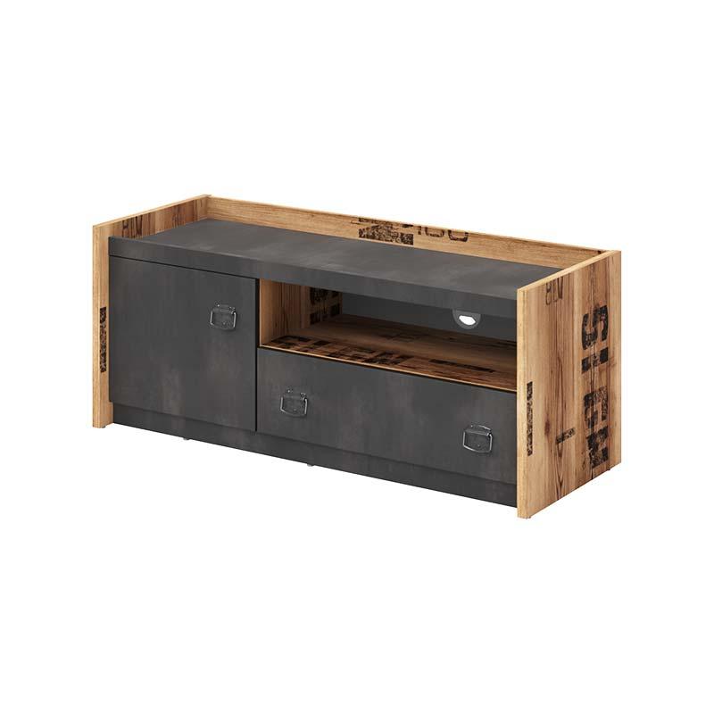 Petite Chambre Meuble TV Fargo style industriel   Graphite   Panneaux Stratifiés   petitechambre.fr