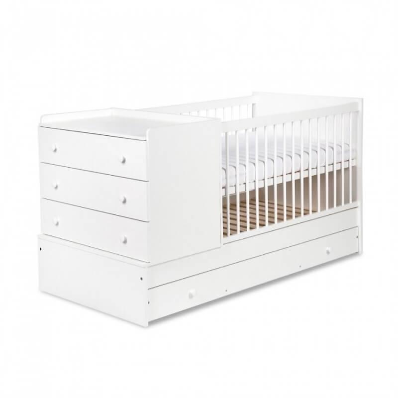 Lit bébé évolutif 3 en 1 Compact - Blanc - H97 cm L176 cm