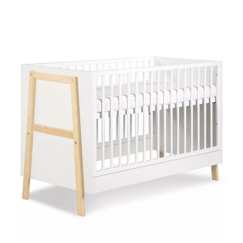 Lit bébé à barreaux Hugo - Blanc - H87,5 cm L124 cm l66 cm