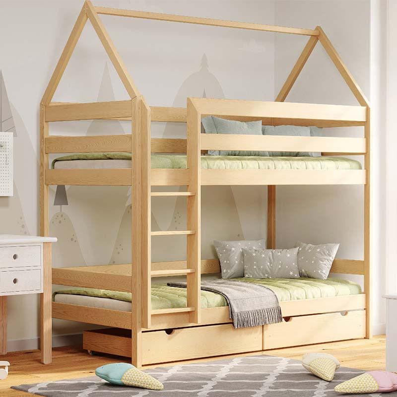 Petite Chambre Lit superposé cabane DOMEK pour chambre enfant   Pin   90 cm x 190 cm   Bois massif   petitechambre.fr