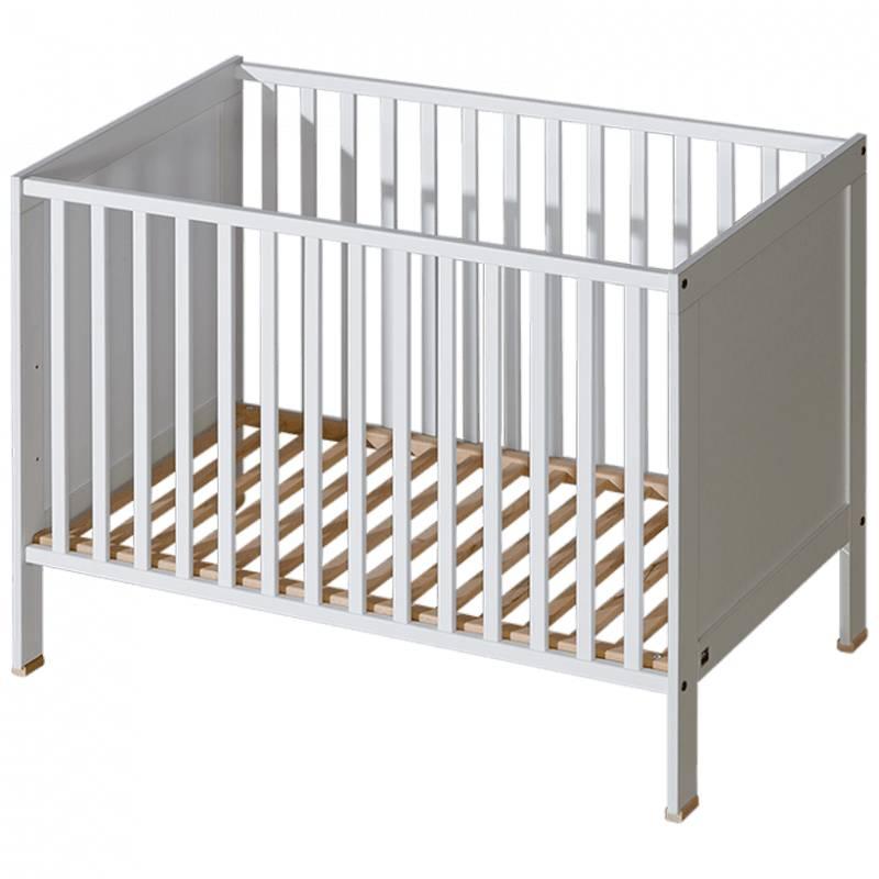 Lit bébé à barreaux Mélodie - Blanc,Bouleau