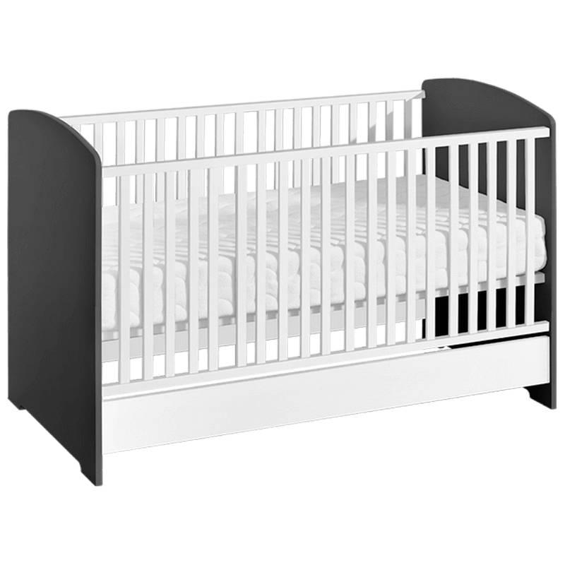 Lit bébé évolutif blanc et noir Sweet - Graphite - H95 cm L144 cm l75 cm
