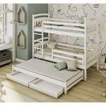 Lano Lit superposé 3 couchages Alan - Blanc - 80 cm x 180 cm Couleurs... par LeGuide.com Publicité