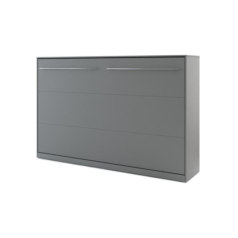 Lit armoire escamotable gris - 120 cm x 200 cm - H109 / 139 / 159 cm l215 cm