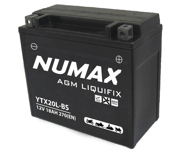Numax Batterie moto Numax Premium AGM avec pack  YTX20L-BS 12V 18Ah 270A