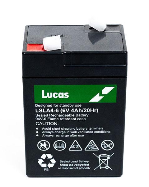 Lucas Batterie Plomb étanche Stationnaire Lucas VRLA AGM  LSLA4-6 6V 4Ah