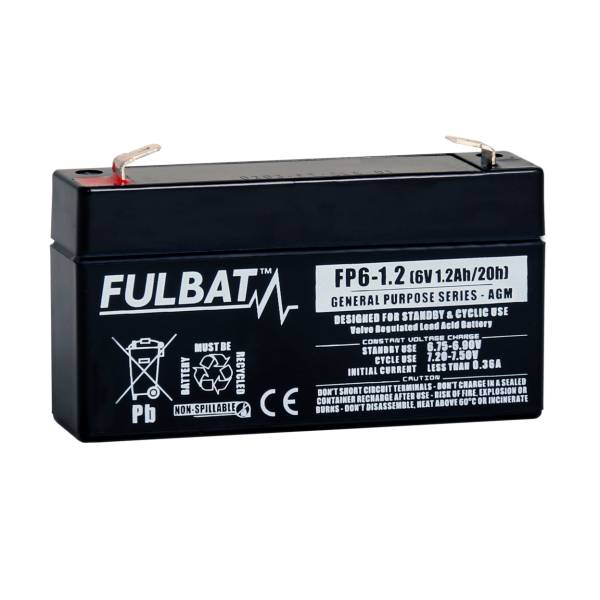 fulbat Batterie FULBAT  AGM  plomb étanche - FP6-1.2 (T1) 6 Volts 1,2 Amps