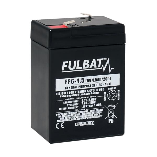 fulbat Batterie FULBAT  AGM  plomb étanche FP6-4.5 (T1) 6 volts 4,5 Amps
