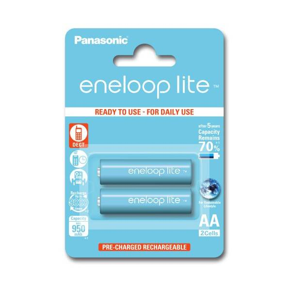 Panasonic 2 batteries de téléphone PANASONIC Eneloop Lite AA NI-MH 1,2V 1000mAh