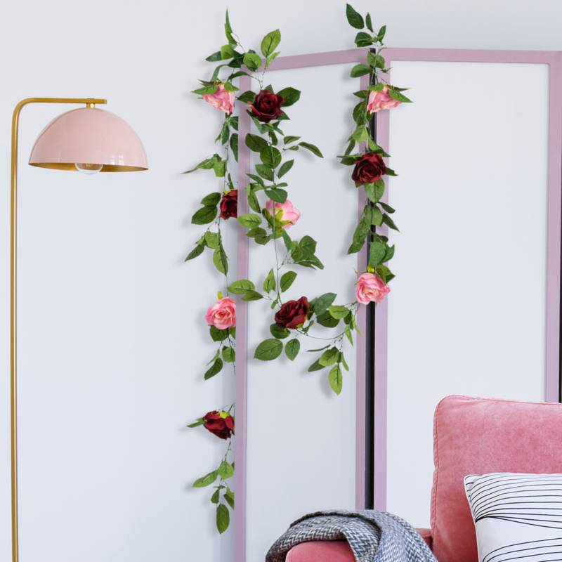 IDMarket Guirlande de 13 roses artificielles