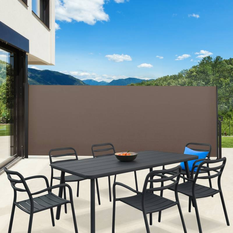 IDMarket Paravent extérieur rétractable 400 x 160 cm taupe store latéral