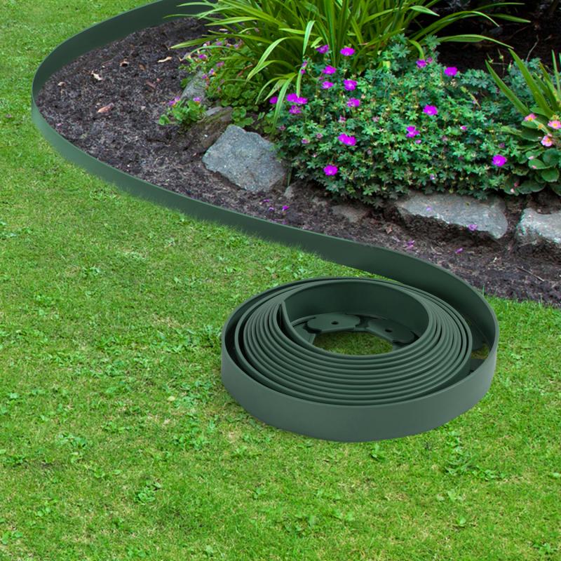 IDMarket Bordurette de jardin flexible 10 M verte hauteur 5 CM + 30 piquets