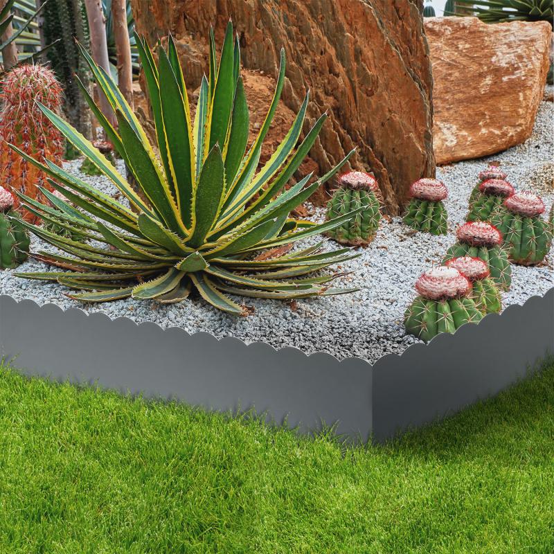 IDMarket Bordurette de jardin x5 acier gris anthracite vague flexible L. 5 x H. 0.18 M