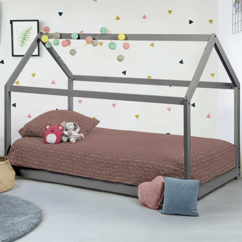IDMarket Lit cabane enfant gris 90x190 cm