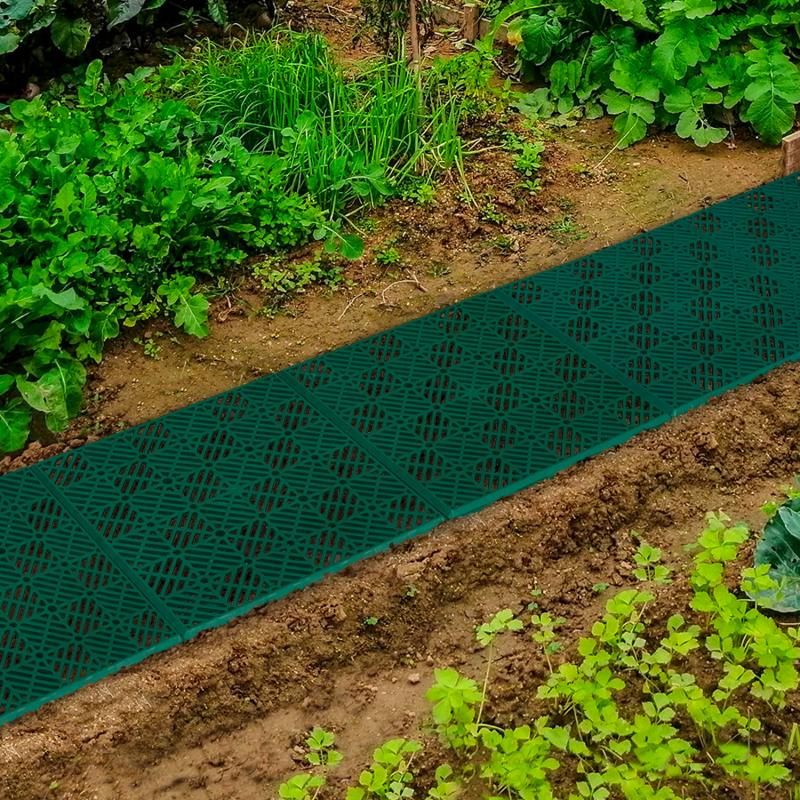 IDMarket Lot de 10 dalles caillebotis de jardin vert 29.5x29.5 CM