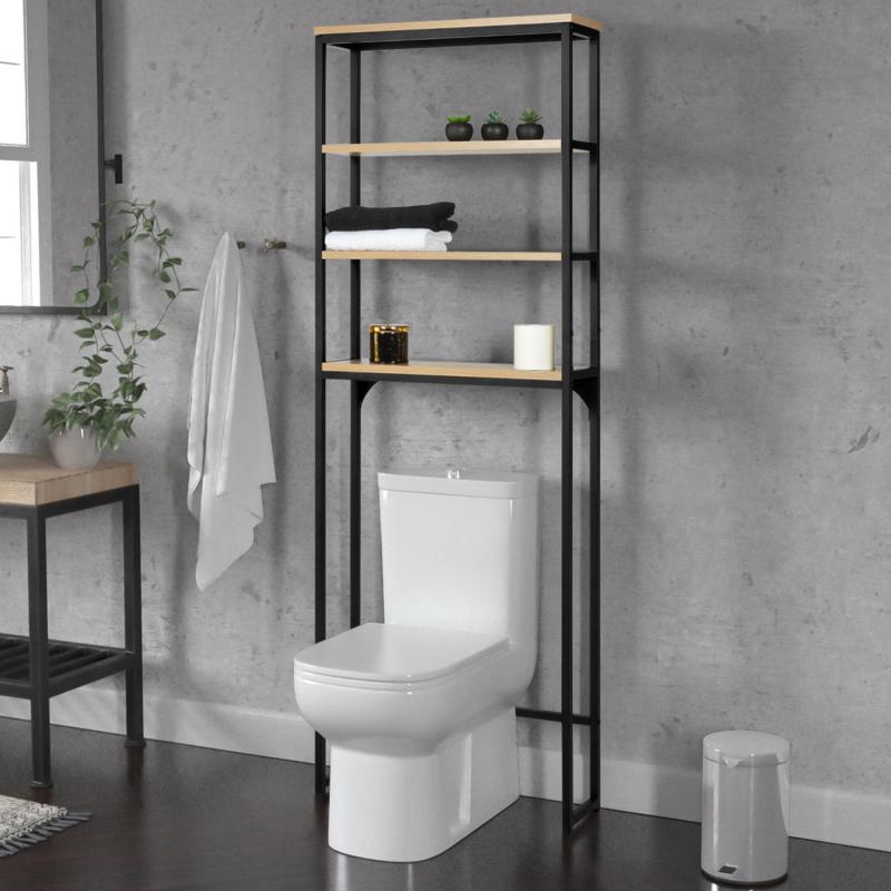 IDMarket Meuble étagère dessus WC 4 étagères DETROIT design industriel