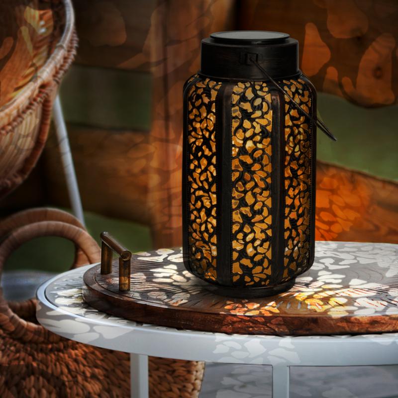 IDMarket Lanterne solaire à LED motifs orientaux à poser ou suspendre