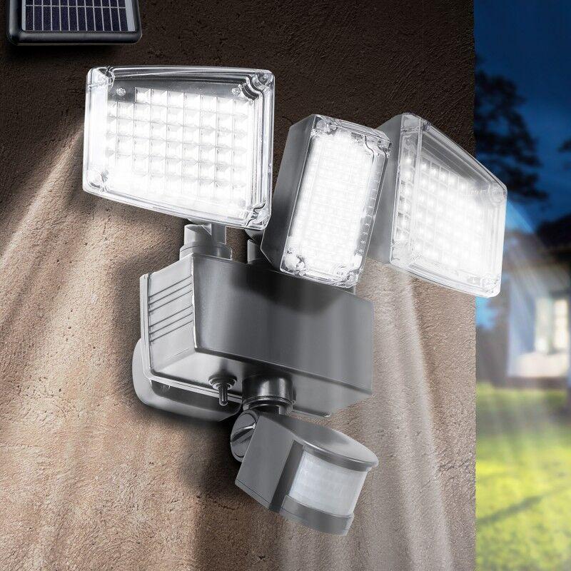 IDMarket Projecteur solaire 3 têtes 178 led détecteur de mouvement