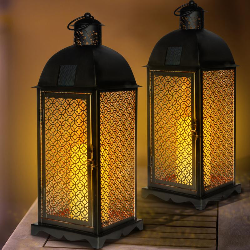 IDMarket Pack de 2 lanternes solaires à motifs orientaux