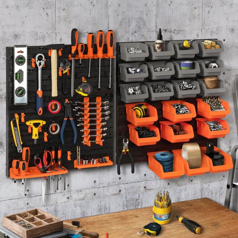 IDMarket Kit de rangement mural 45 pièces panneau perforé et porte-outils