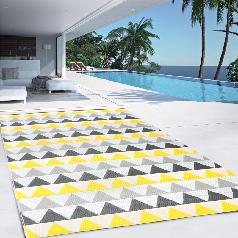IDMarket Tapis extérieur SARI triangles gris et jaune 160x260 cm
