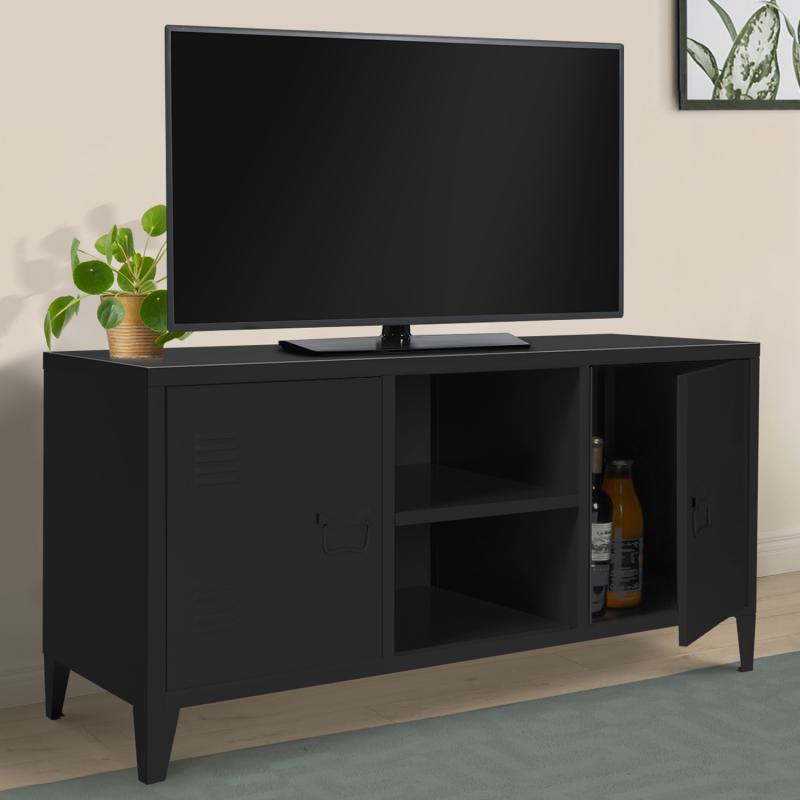 IDMarket Meuble TV 2 portes ESTEL en métal noir