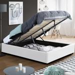IDMarket  Lit coffre MIAMI PVC blanc avec sommier 140x190cm   Donnez... par LeGuide.com Publicité