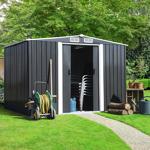 IDMarket  Abri de jardin 5.3 m² gris en acier galvanisé avec base   Vous... par LeGuide.com Publicité