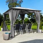 IDMarket  Tonnelle MAYA 3x3 m toit polycarbonate rideaux gris   Descriptif... par LeGuide.com Publicité