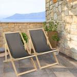 IDMarket  Lot de 2 chaises longues pliantes en bois avec toile gris anthracite... par LeGuide.com Publicité