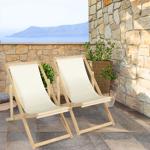 IDMarket  Lot de 2 chaises longues pliantes en bois avec toile écrue... par LeGuide.com Publicité