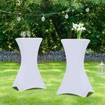 IDMarket  Lot de 2 tables hautes 105 cm pliantes + 2 housses blanches... par LeGuide.com Publicité