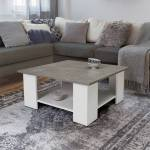 IDMarket  Table basse carrée ELI blanche plateau effet béton   Descriptif... par LeGuide.com Publicité