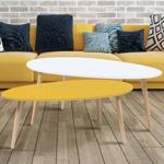 IDMarket  lot de 2 tables basses gigognes laquées jaune blanc scandinave... par LeGuide.com Publicité