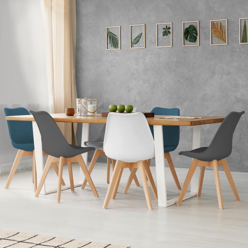 IDMarket Lot de 6 chaises SARA mix color blanc, gris clair, bleu canard x2, gris foncé x2