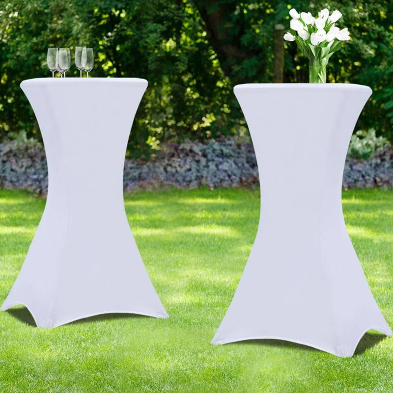 IDMarket Housse blanche x2 pour table haute pliante 105 cm