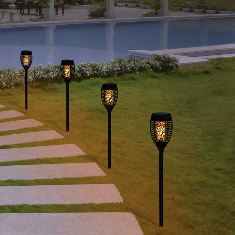 IDMarket Lot de 4 lampes torches 53 LED flammes