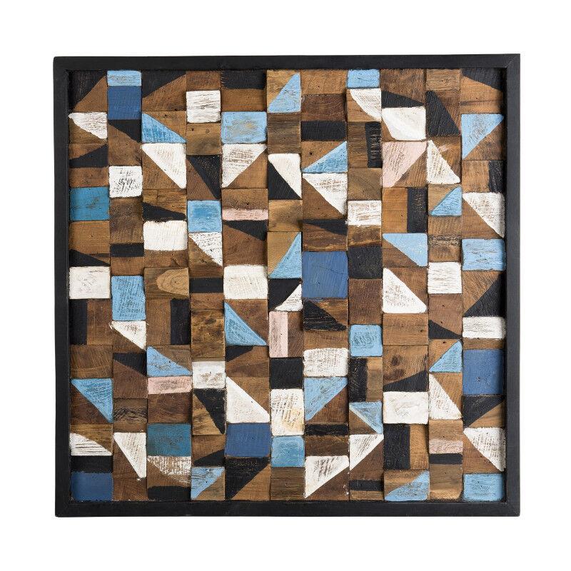 SO INSIDE Décoration murale carrée mosaïque en teck recyclé multicolore Forest
